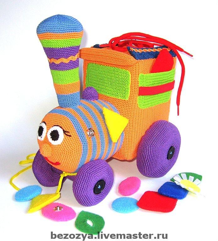 Развивающие игрушки ручной работы. Ярмарка Мастеров - ручная работа Развивающий паровозик 12m+. Handmade.