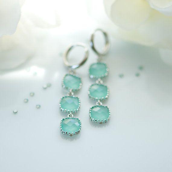 Tiffany blue earrings, mint opal earrings
