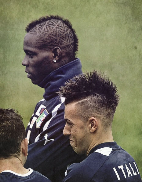 these two guys and hairstyles ... I wonder if they have some kind of a competition about that. :D Balotelli & El Shaarawy.