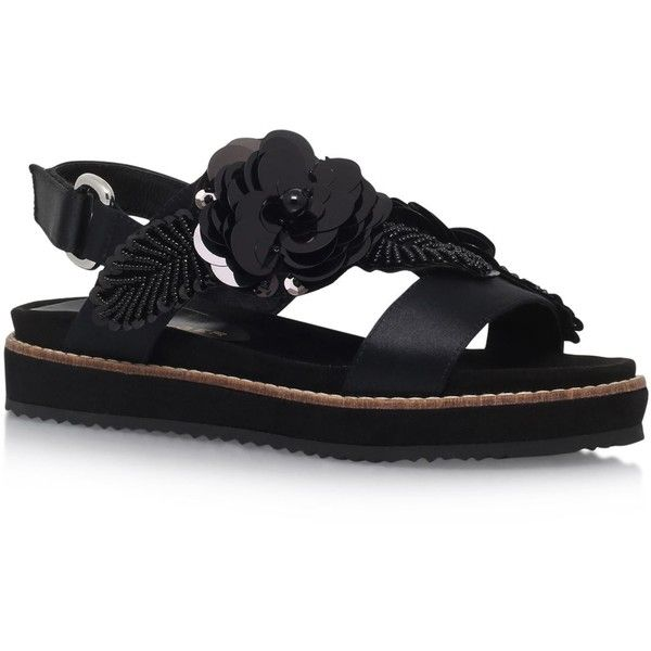 Kurt Geiger London Bumble Embellished Sandals (10,195 DOP) ❤ liked on Polyvore featuring shoes, sandals, sequined shoes, floral printed shoes, beaded sandals, kurt geiger and kurt geiger shoes