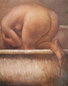 Dario Morales Mujer en Bañera Oleo sobre lienzo 100 x 81 centìmetros