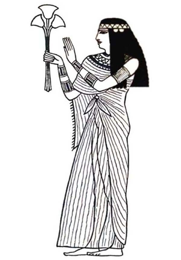 Ancient Egypt, : An Ancient Egypt Royal Women in Linen Cloth Coloring Page