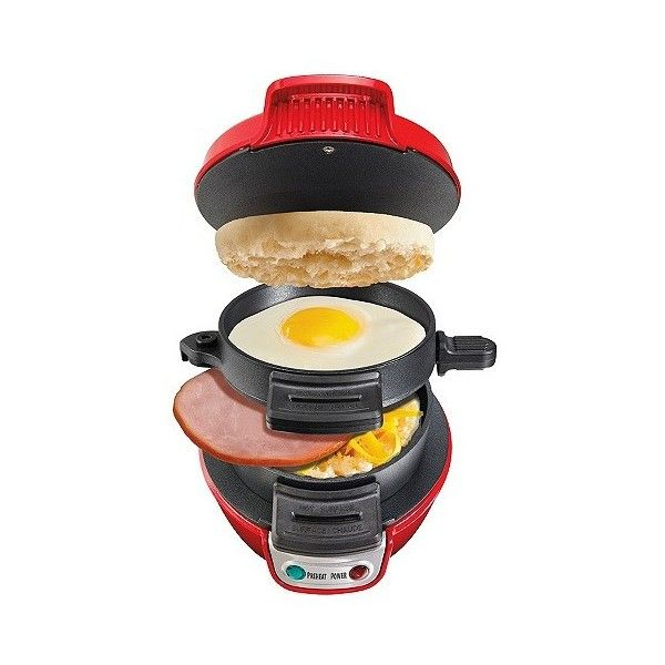 Hamilton Beach Breakfast Maker - Red- , Red ($25) ❤ liked on Polyvore featuring home, kitchen & dining, small appliances, red, sandwich waffle maker, hamilton beach sandwich maker, egg sandwich maker, hamilton beach waffle maker and hamilton beach griddle