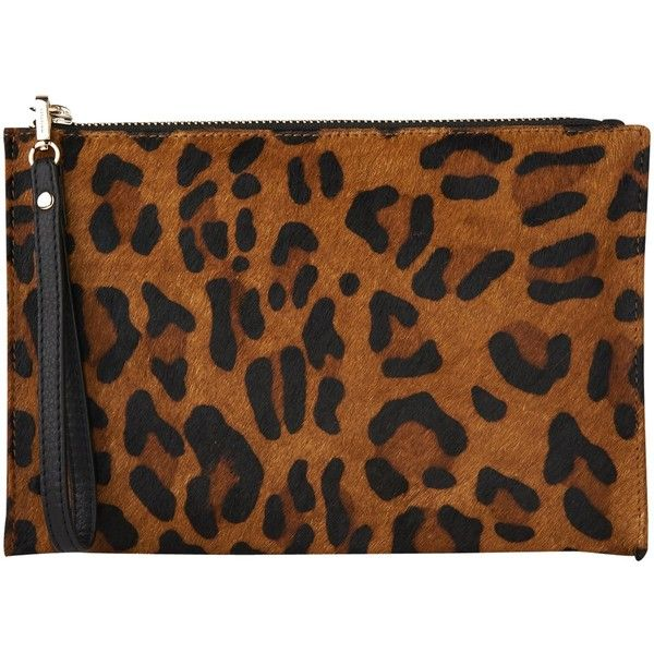 Whistles Leopard Print Pony Leather Wristlet, Brown ($80) ❤ liked on Polyvore featuring bags, handbags, clutches, hand bags, brown purse, leather clutches, leather man bags and leopard print clutches