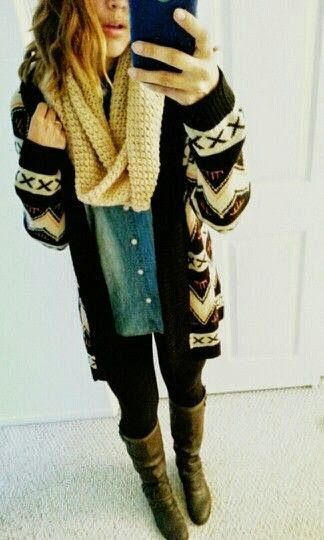 Fashion And Style: Winter outfit. aztec cardigan ridingboots leggings chambray infinityscarf winter outfit
