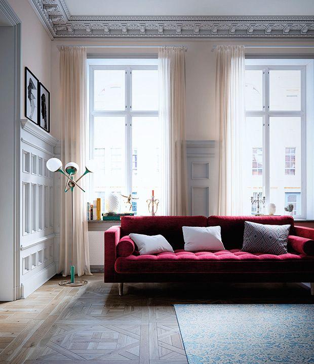 D couvrez le textile tendance qu on adore en ce moment new home canap rouge canap - Canape rouge bordeaux ...