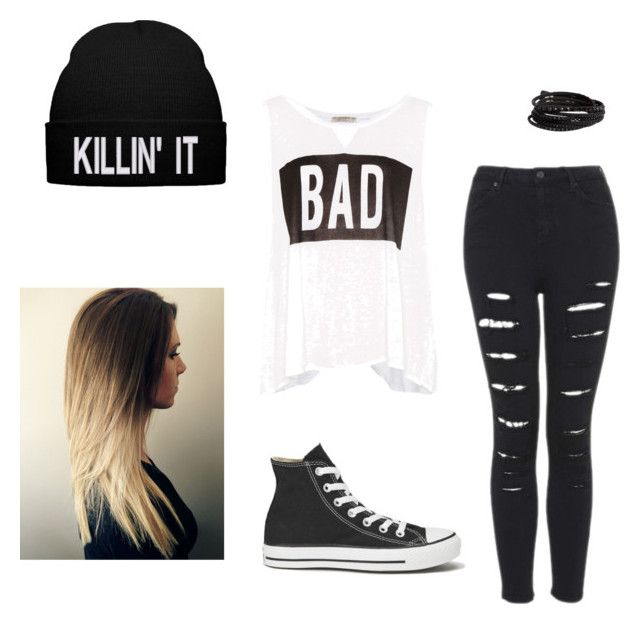Gangster Outfit by amelia-27 on Polyvore featuring Pull&Bear, Converse and Pieces