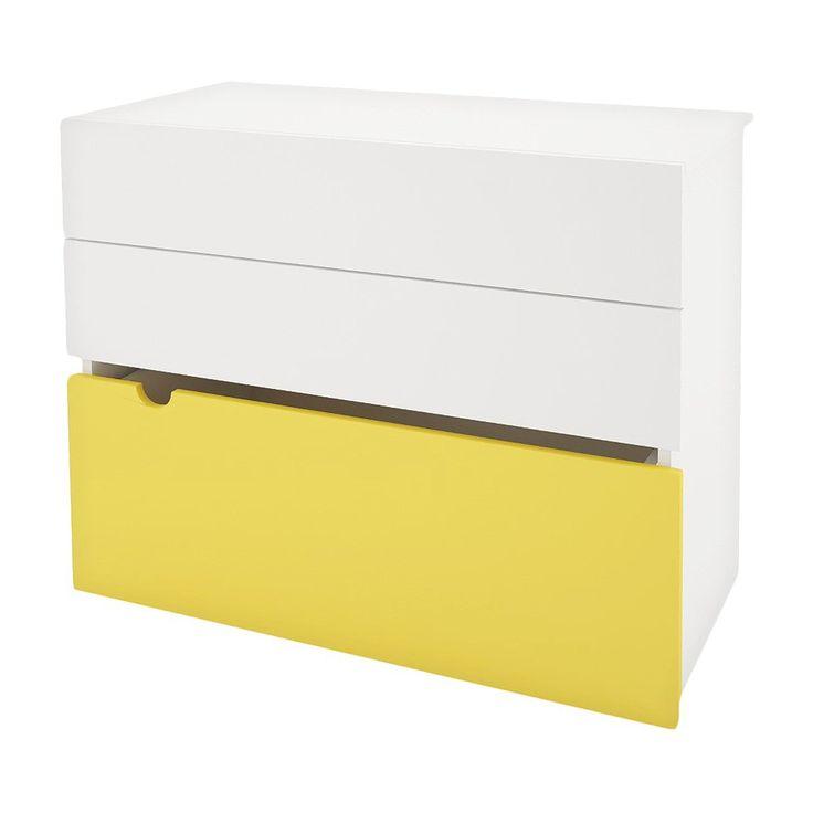 Epic Taxi Drawer Chest with Mobile Storage Trunk White Yellow Nexera