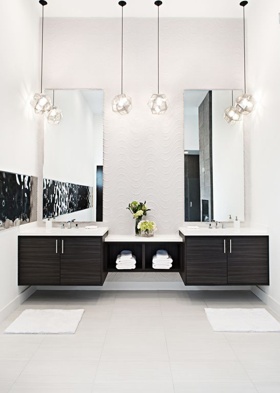 Contemporary Powder Room with Etch Shade Pendant, Undermount Sink, Double sink, Wave Endurawall Decorative 3D Wall Panel