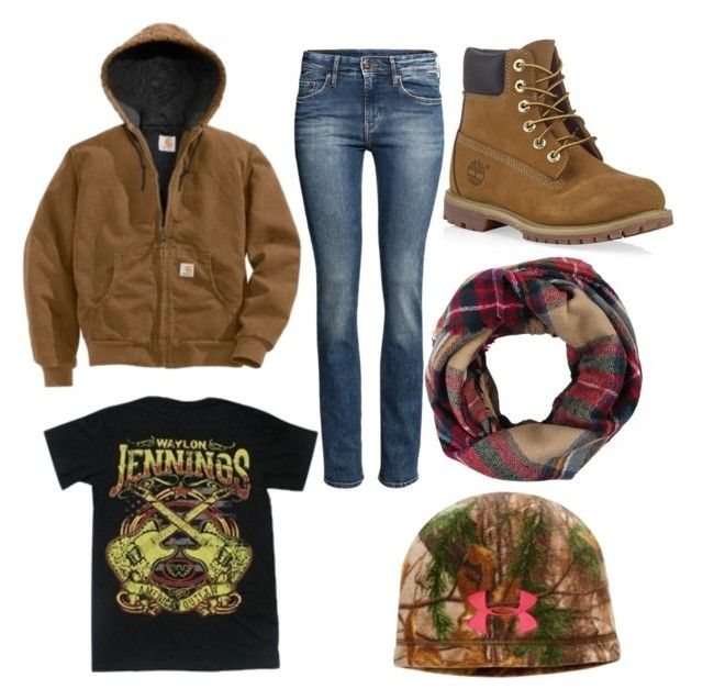 """""""I'm cold and this looks warm"""" by nothin-fancy ❤ liked on Polyvore featuring Timberland, Carhartt, H&M, Look by M and Under Armour"""