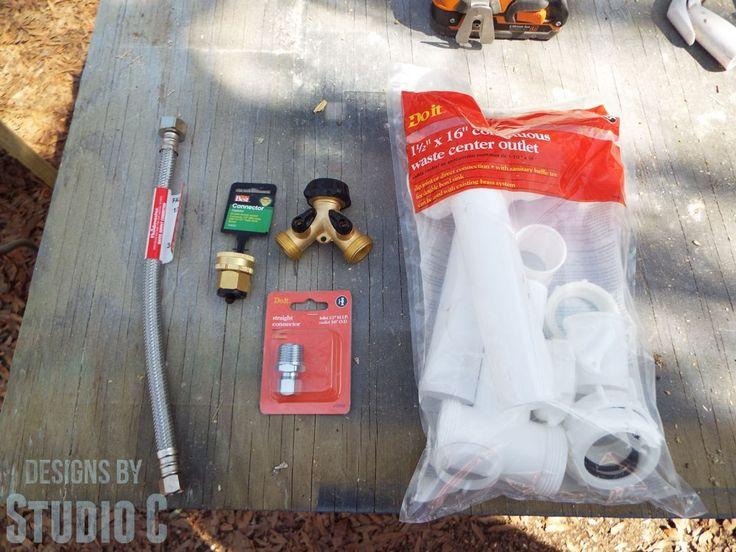 install outdoor sink from garden hose tutorial