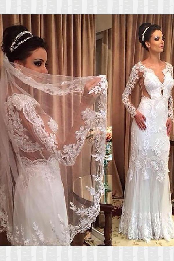 Discount Delightful Long Sleeves Wedding Dress, V-Neck Wedding Dress