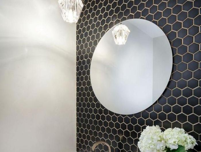 Les 25 meilleures id es de la cat gorie miroir hexagonal for Carrelage hexagonal noir