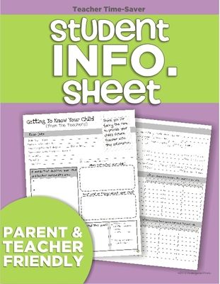 Student Information Sheet from KindergartenWorks on TeachersNotebook.com -  (2 pages)  - Get to know your kinders when parents register them for kindergarten with this parent (and teacher) friendly information sheet.