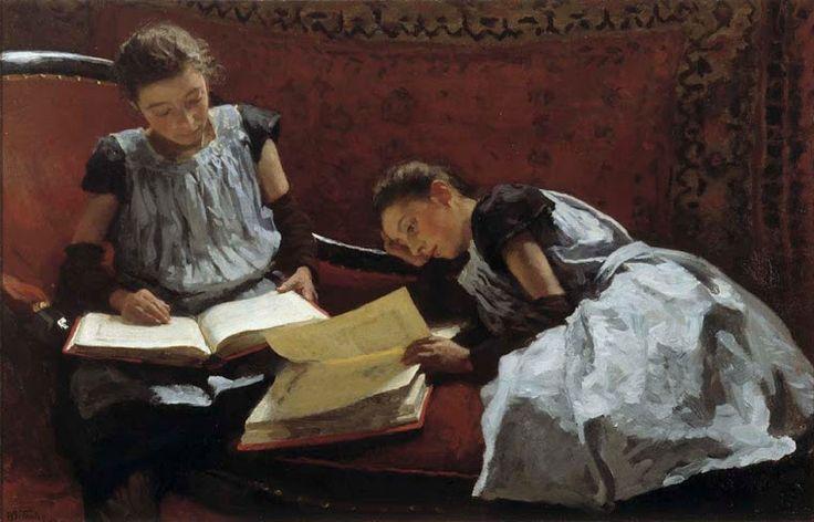 Nicolaas van der Waay(1855-1936) Kerkgang van Burgerweesmeisjes, ca. 1895 Het burgerweeshuismeisje dat in haar bijbel leest, is samen met ...