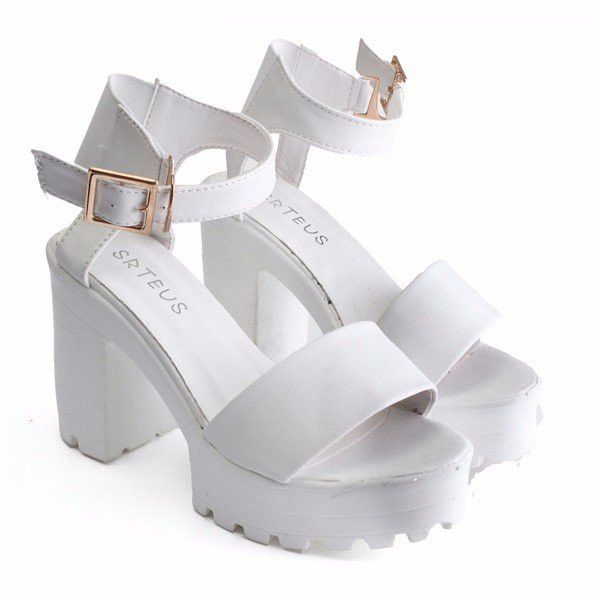 Fish Mouth Pure Color Chunky Heel Buckle Sandals