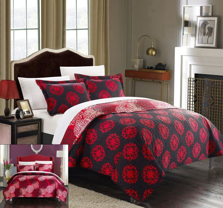 chic home 3 piece kelsie boho inspired reversible print quilt set king red