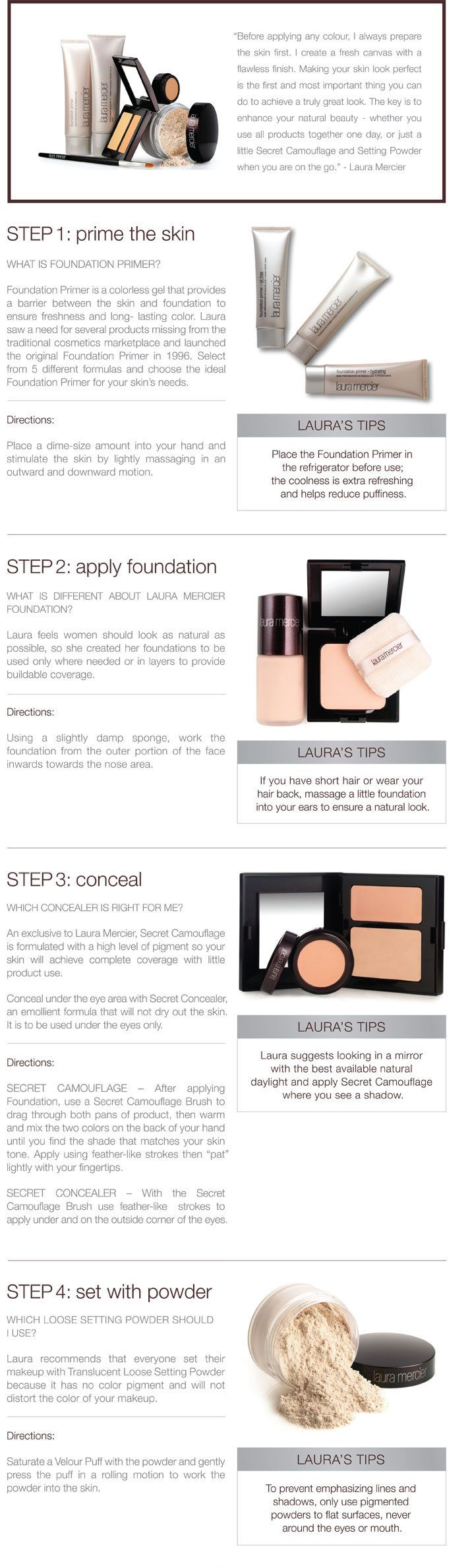 the flawless face (laura mercier) - I LOVE LM makeup. especially the crème foundations... :) Highly recommend!