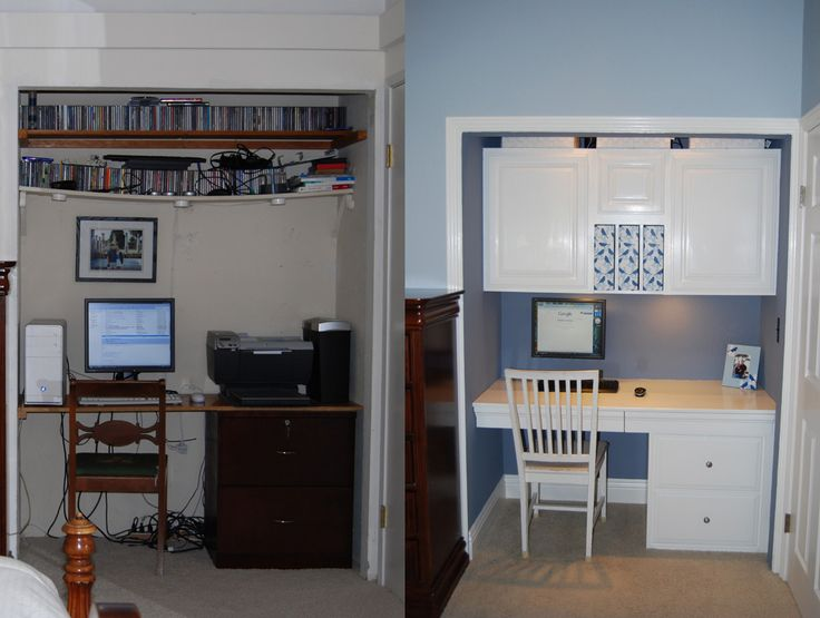 Interesting Desk In Closet Design White And Blue An Officeinacloset Makeover Throughout Inspiration