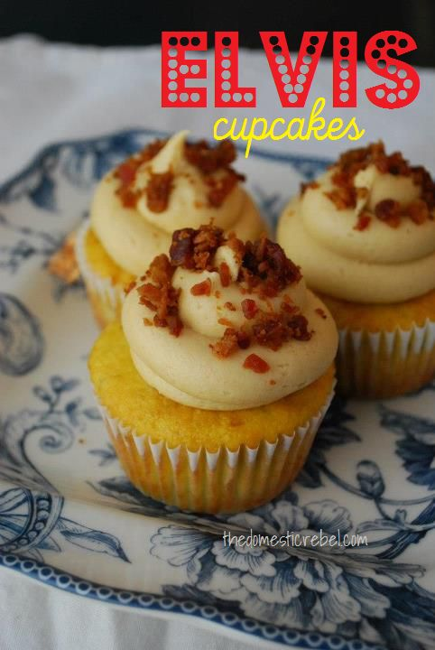 Elvis Cupcakes The Domestic Rebel Banana Peanut Butter And Bacon In A