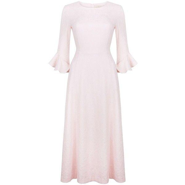 Ukulele - Colette Dress ($220) ❤ liked on Polyvore featuring dresses, floral-print dresses, mid calf dresses, sleeved dresses, pink floral dress and pink midi dress