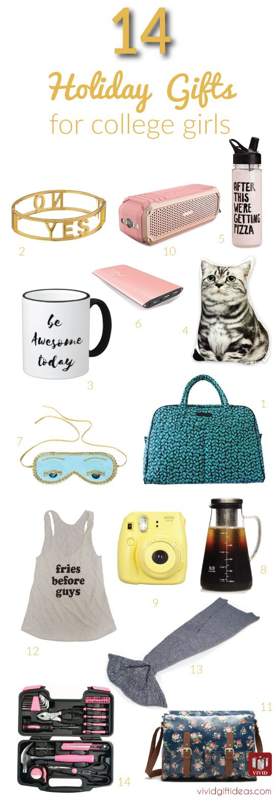 Holiday gift ideas for college student. 14 great Christmas gifts for college girls.