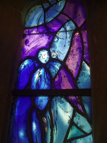 Chagall Angel, Tudeley Church Kent.  There are 12 Chagall windows in this small village church at Tudeley, Kent. Hardly anyone seems to know they are there and they are magnificent.