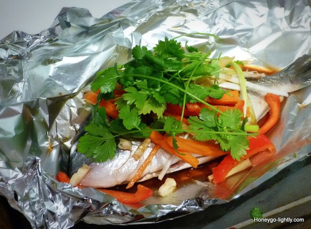 Sea Bream Foil Parcel with Baby Squid and Vegetable's in Oyster Sauce