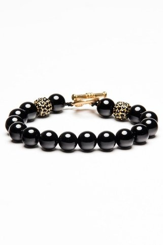 Could be made with black Swavorski pearls and pave beads with toggle for  clasp.