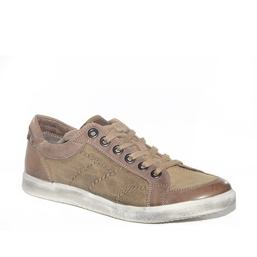 Sneakers in tela color taupe.