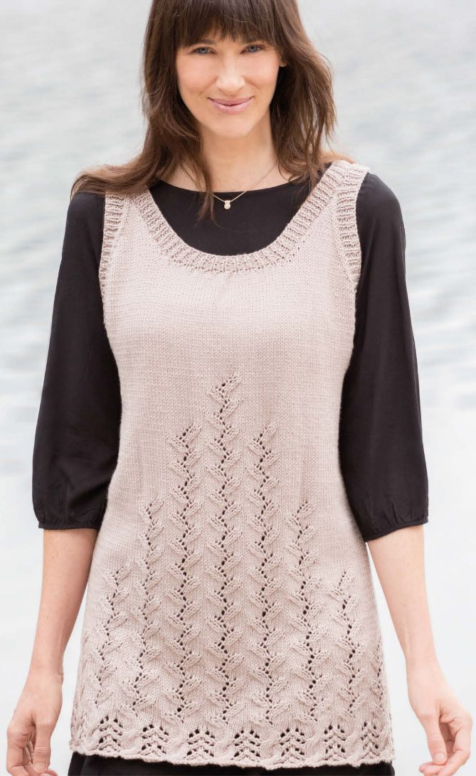 Free Knitting Pattern for 8 Row Repeat Leaf Lace Tunic - This sleeveless pullover features an 8 row repeat twining leaf stitch with another 8 row repeat lace hem on front and back. Designed by King Cole. DK yarn. This pattern was featured in Season 8 of Knit and Crochet Now! and is free with registration at Annie's