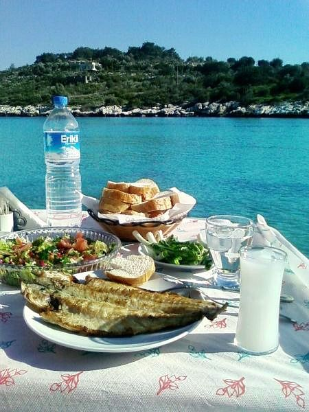 Raki, fish and view of Narlikuyu. Mersin, Turkey.