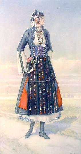 Macedonian Costume:  Unmarried Greek Girl's Dress (#Macedonia, Roumlouki) northern #Greece, 1930