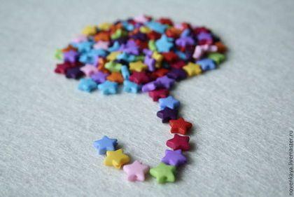 Бусинки звездочки 9мм - бусинки звезды,звездочки,бусы звезда,звезда,,пластиковые бусины