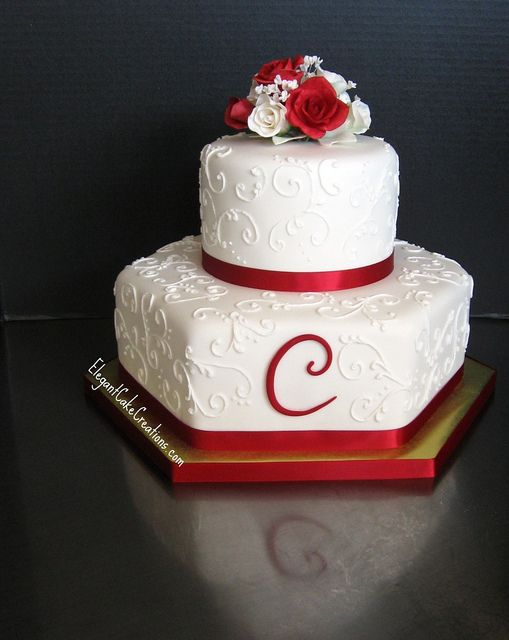 Red and White Roses Wedding by Elegant Cake Creations AZ, via Flickr