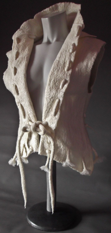 Handmade Felt Tailored Ladies Waistcoat.Cream Merino Wool / Golden Soy Bean Fibers.OOAK by FluxFashionFelts on Etsy