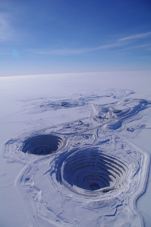 Diavik Diamond Mine, Northwest Territories, Canada. Producing 8 million carats annually the site began production in 2003. The mine's most remarkable feature is its location, on an island in the middle of Lac de Gras.