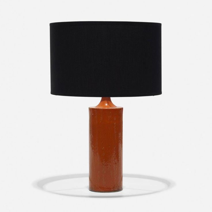 Georges Jouve; Glazed Stoneware Table Lamp, 1960.