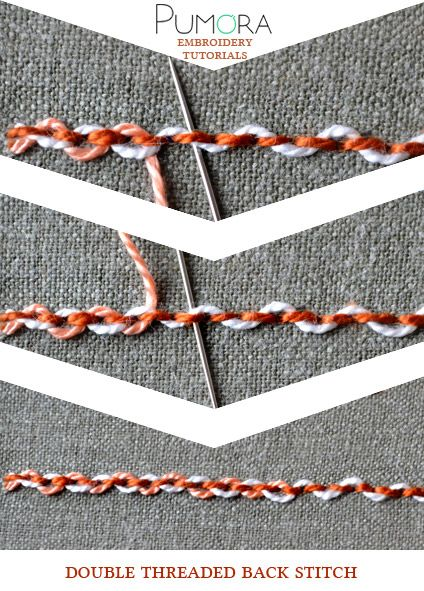 Pumora's stich-lexicon: double threaded back stitch, doppelt umschlungener Rueckstich/Rückstich (DE); point de piqûre double rebrodé/orné/entrelacé (FR); punto pespunte entrelazados doble (ES)
