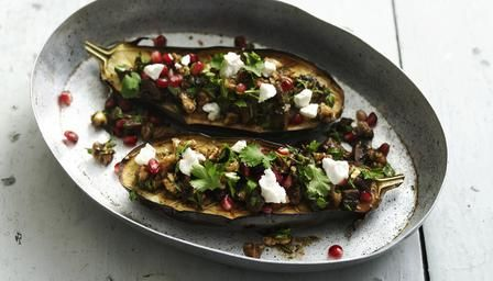 Roasted aubergine with walnut salsa.  With lamb for dinner & as lunch