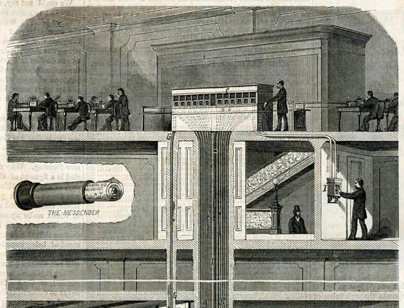 Interoffice memos, the old way  Pneumatic Tube System Antique 1875 Journal Article