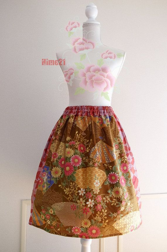 Red Brown Japanese Pattern Print fabric Cotton Skirt by Hime21, ¥4500