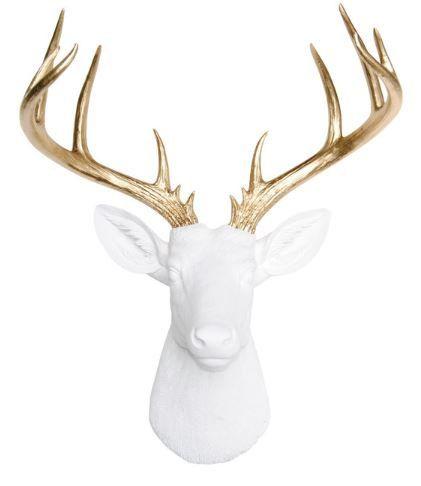 Großer Hirsch Kopf  weiß-goldene Hirsch Kopf Wandhalterung