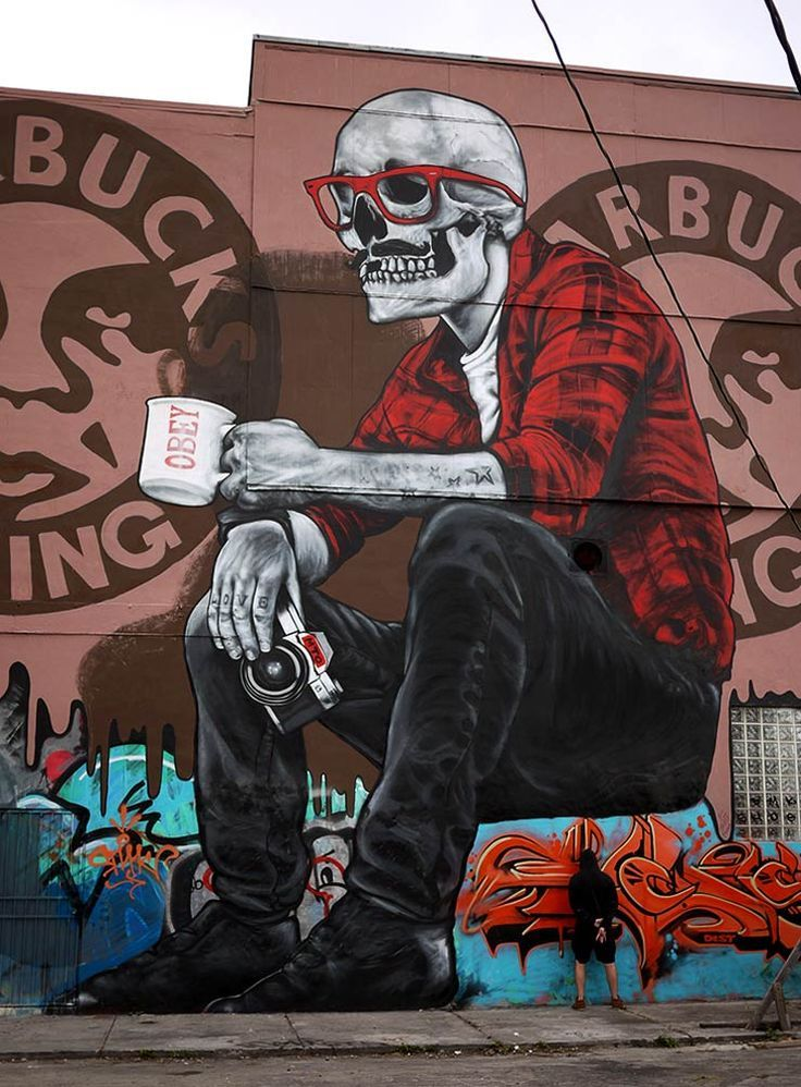 Skull street art, pay close attention to the details, you will find something
