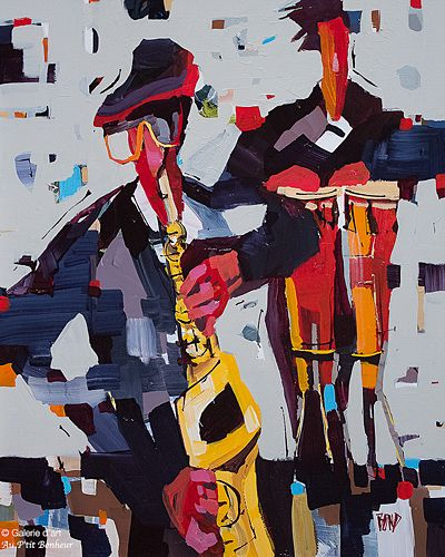 Rick Bond, 'Percussion Blues', 24'' x 30'' | Galerie d'art - Au P'tit Bonheur - Art Gallery