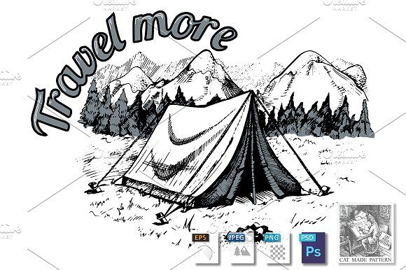 Tent in mountains by CatMadePattern on @creativemarket