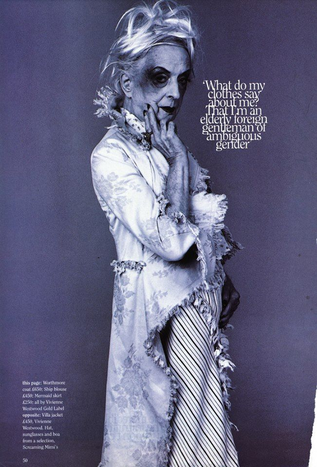 Quentin Crisp ( the self-titled Stately Homo of England) modelling Vivienne Westwood Gold Label