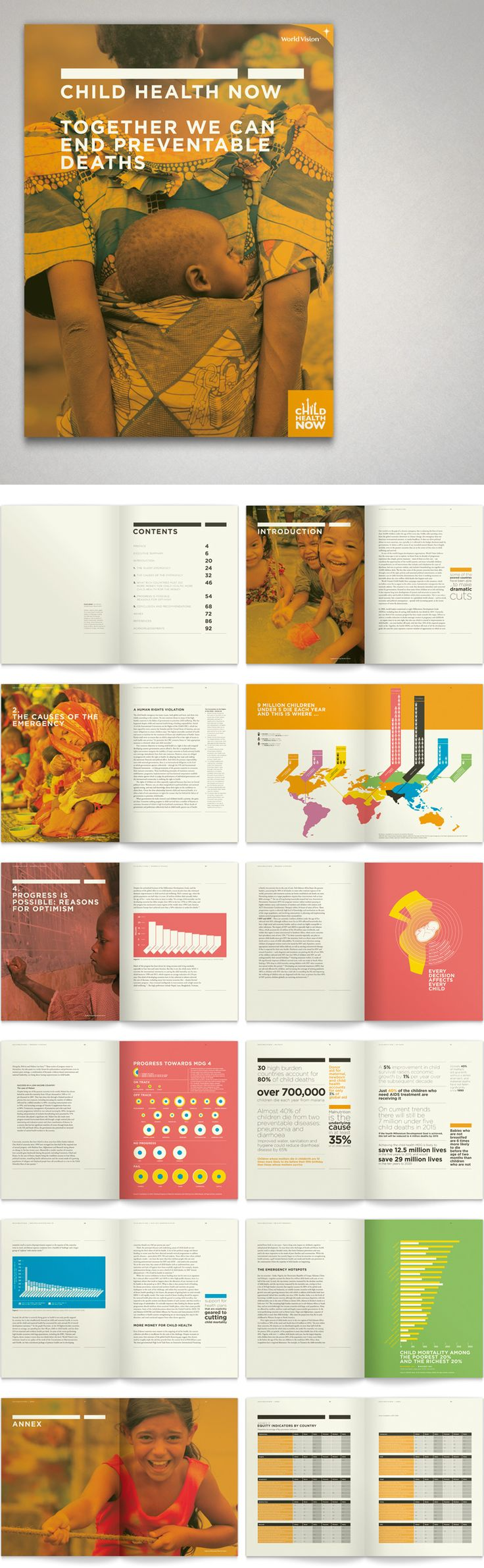 http://www.robertsonwade.com/projects/worldvision/    World Vision Child Health Now report design