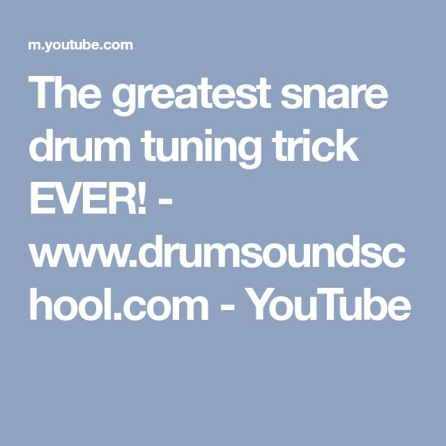 The greatest snare drum tuning trick EVER! - www.drumsoundschool.com - YouTube