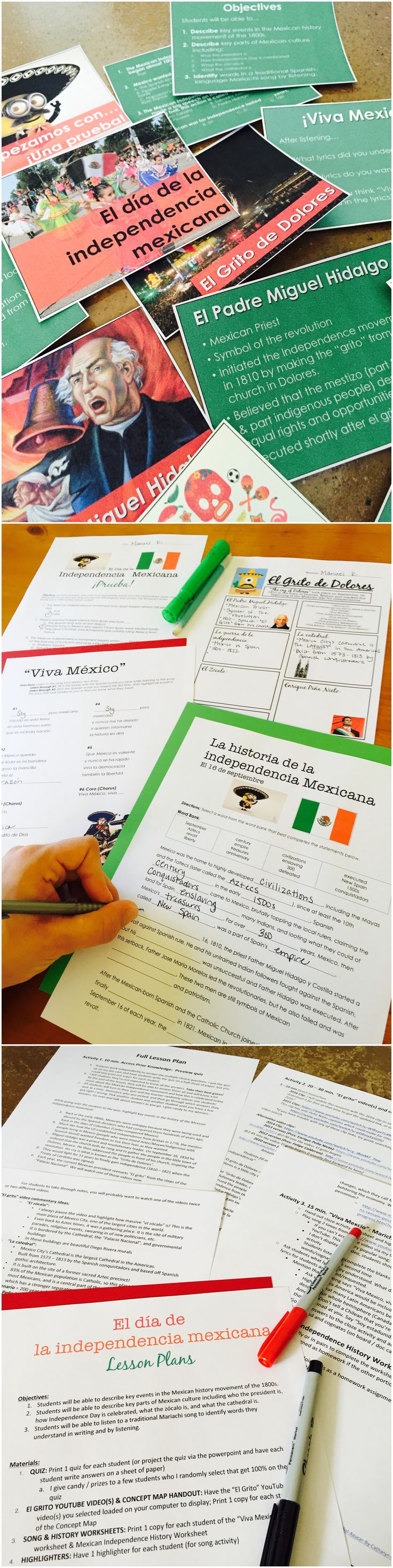 Mexican Independence Day One Hour Lesson for Beginning Spanish - Use authentic video and music to teach the holiday - By Sol Azúcar